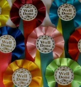 Well Done OR Winner Rosettes WILL NOT FIND CHEAPER ON EBAY!!!! Pack Of 5