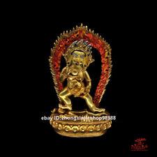 Tibet Buddhism Black Jambhala Mammon Buddha Bronze 24 Gold Statue 28CM