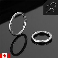 1PC Nose Ring CZ Septum Clip Hoop Surgical Steel Hinged Segment body piercing