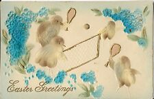 Antique Postcard, Easter Greetings, Flocked, Baby Chicks Playing Tennis!