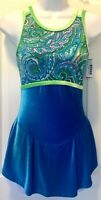 GK SLVLS TURQUOISE ICE FIGURE SKATE ADULT SMALL FOIL P/S VELVET DRESS Sz AS NWT