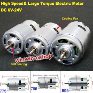 Large Torque RS-775 & RS-795 RS-895 Motor DC 6V 12V 18V 24V High Speed DC Motor