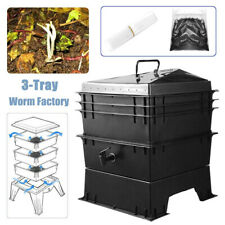 3-Tray Worm Factory Farm Compost Bin Set Vermicomposting Gardening Soil Box US
