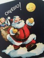 Vtg SANTA Toys ANTHROPOMORPHIC MAN IN MOON Mid Century CHRISTMAS GREETING CARD