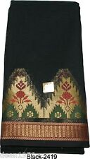 Beautiful Hand Weaved Ethnic India Chanderi Silk Indian Saree Sari Black-2419