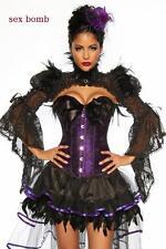 SEXY completo BURLESQUE gonna+corsetto PIUME S, M, L (40,42,44) fashion GLAMOUR