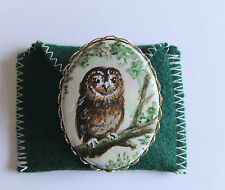 Tawny Owl Brooch, miniature hand painting by R.J.Cail