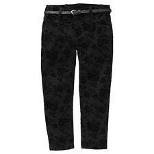Girls New With Tags Black Floral Flocked Stretch Pants/Jeans with Belt-Size3,4,5
