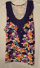Purple Floral Sleeveless Ruffle Top Shirt Blouse Women's Plus Size 2x Cargo Bay