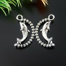 Vintage Silver Alloy Dolphin Shaped Charms Pendants Crafts Findings 30pcs 51753
