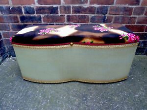 Vintage Retro Lloyd Loom Ottoman/ Blanket Box / Padded Seat