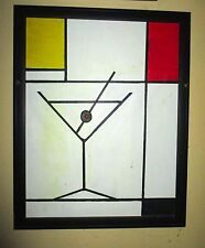 Framed Oil Painting of Martini Glass and Olive in the Style of Piet Mondrian