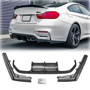 For 2015-2019 BMW F80 M3 F82 M4 Rear Bumper Diffuser Lip 3PCS Carbon Fiber Style