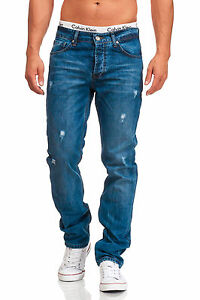 MADDU Herren Jeans Hose Used Destroyed Freizeit Clubwear Blau 218 NEU