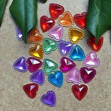 25pcs Resin Heart 12mm FlatBack Rhinestone Scrapbook Craft gem bling #413