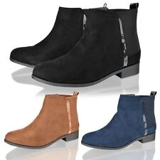 Womens Ladies Chelsea low heel faux suede pull on ankle riding boots shoes size