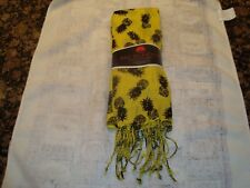 Big Buddha Featherweight Pashmina Scarf with Fringe- Yellow & Black Print - New