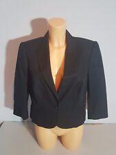 Esprit corto BLAZER chaqueta talla 42 negro clásico algodón 3/4 brazo nuevo