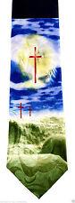 Heavens Cross Mens Neck Tie Religious Blue Necktie Jesus Bible Christian New