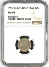 COSTA RICA: 10 CENTIMOS 1951, NGC MS-63, KM# 185.1
