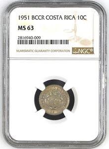 COSTA RICA: 10 CENTIMOS 1951, NGC MS-63, KM# 185.1