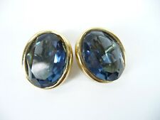 Christian Dior Vintage Mid Century Modern Cabochon Clip On Jeweled Earrings