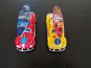 Lot 2 Kinsmart Volkswagen 1967 VW Bug -VGC- Red Yellow Flowers Surfboards Maui