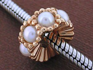 Bd064- Large Genuine 9K Solid Rose Gold NATURAL Pearl Bead for European Bracelet