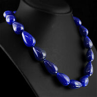 649.50 CTS EARTH MINED RICH BLUE SAPPHIRE PEAR SHAPE BEADS NECKLACE - ON SALE