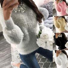 Womens Long Sleeve Fleece Sweater Ladies Sweatshirt Jumper Pullover Tops Blouse