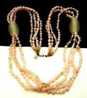"Signed Miriam Haskell Vintage 24"" Pink Clear Art Glass Multi Strand Necklace A7"