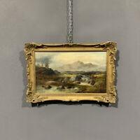 Antico quadro paesaggio con pescatore Cader Idris olio su tela epoca XIX secolo