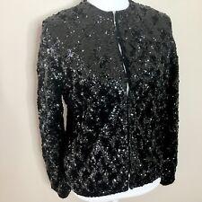 Vintage Sequin Jacket Sz 40 Women's Black Long Sleeve Evening Lambs Wool