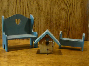 Doll/Teddy Miniature Blue Wood Furniture, BIRD HOUSE; LARGE BENCH, SMALL BENCH