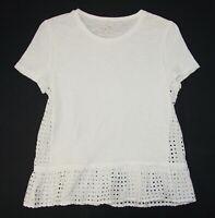 Kate Spade Broome Street White Eyelet Shirt Tee Small Women's Cotton G14