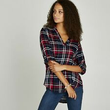 Apricot - Blue Navy Open Neck Check Shirt Uk 18 Brand New