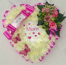 Artificial Silk Funeral Flower Chrysanthemum Mothers Day Heart Wreath Tribute