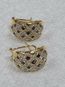 18k 750 sapphire and diamond French clip earrings 9.3g