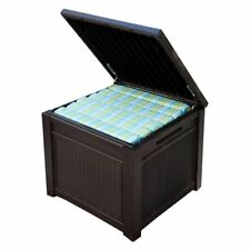 Storage Deck Box Outdoor Container Bin Chest Patio Keter 55 Gallon Cube Brown
