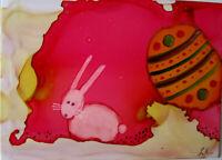 "Aceo  art PRINT baby bunny rabbit Easter egg by Lynne Kohler 2.5x3.5"""