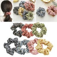 Silk Scrunchies Ponytail Holder Elastic Ties Hair Band Pink Brown Floral SC038