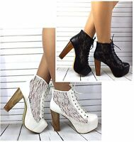 Womens Lace Up Platform Block High Heel Booties Ankle Boots Shoes UK 2.5 - 7