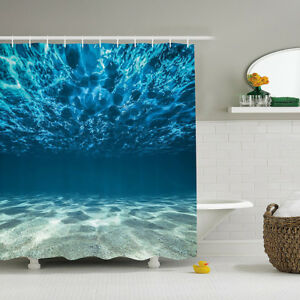 AOACreations Shower Curtain with Hooks Underwater World Sharks Mermaids Prints