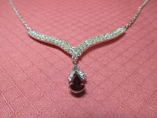 NEW SILVER TONE NECKLACE W RHINESTONE AND RED TEARDROP SIGNED SPBC LIND