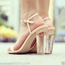 ZARA LEATHER PERSPEX CLEAR STRAPPY SANDALS HEEL UK6/EUR39/US8
