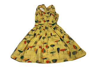 Bettie Page By Art & Tatyana S Pinup Wiggle Dress Cocktail Drinks Yellow Vtg