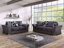 Brand New Farrow Shannon 3 + 2 Grey/Black Fabric Leather and Sofa set
