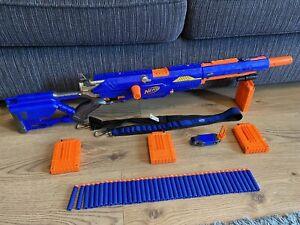 Nerf N-Strike Longstrike CS-6 Sniper Blaster Gun 4 Mags Strap 48 Ammo & Strap