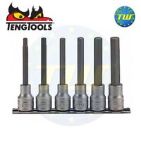 "Teng 6pc 1/2"" Long Allen Hex Bit Socket Clip Rail Set 5 6 7 8 10 & 12mm M1211"