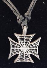 Iron Cross Spiderweb Pewter Pendant biker gothic Schwartz steampunk feeanddave